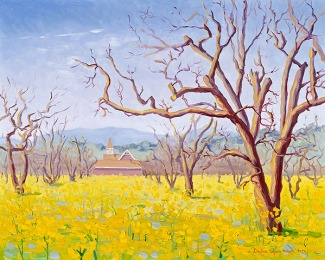"""Gomez School House in the Mustard Flowers"" by Daphne Wynne Nixon"
