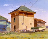 """Sparrows Soaring Over Tank House"" by Daphne Wynne Nixon"