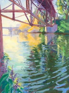 """Calm Under the Trestle"" by D. W. Nixon, oil, 16 x 12."