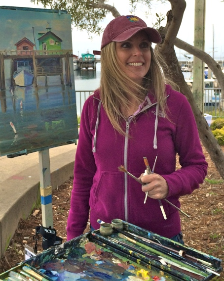Daphne painting at Fisherman's Wharf at the Plein Air Expo 2014 in Monterey, CA