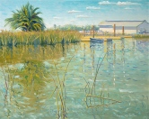 """Tule Reeds in Suisun Harbor"", 16"" x 20"" by Daphne Wynne Nixon"