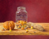 """Canning Candy Corn"" 11"" x 14"", oil on board by Daphne Wynne Nixon"