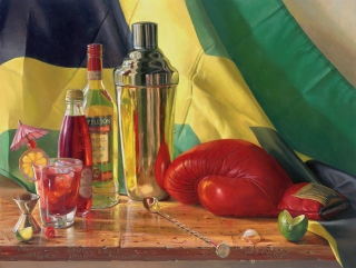 """The Jamaican Punch"" by D. W. Nixon, oil on board, 18"" x 24"""