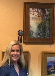 "Daphne won the First Pkace Award for her painting, "" Swans Nestling Under tge Trestle Bridge, Capitola"" at the Coastal Plein Air Painters Show at Wargin Wines Tasting Room."
